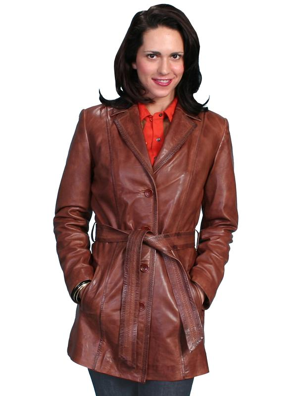 A Scully Ladies&39 Leather Jacket: Car Coat Antique Brown S-2XL