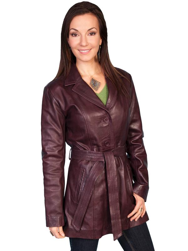 A Scully Ladies' Leather Jacket: Car Coat Wine M-XL SALE