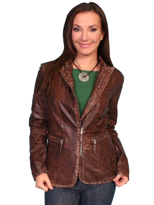 A Scully Ladies' Leather Jacket: Lamb with Stud Details Antique Brown M SALE