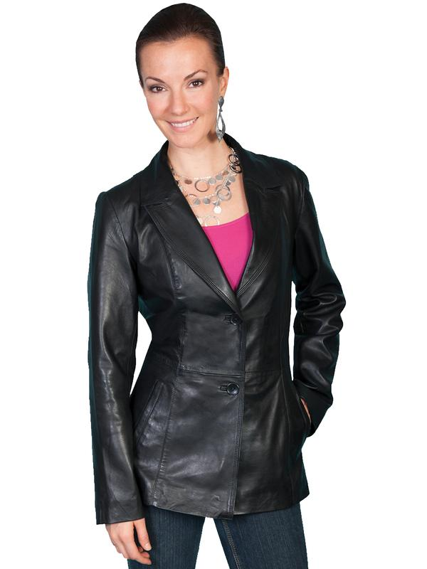 A Scully Ladies' Leather Jacket: Blazer Lamb Black S-2XL Back Ordered