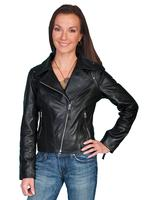 A Scully Ladies' Leather Jacket: Motorcycle Asymetrical Zippers Black S-2XL