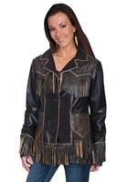 A Scully Ladies' Leather Jacket: Western Fringe Tooled Jacket Brown