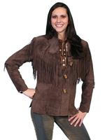 A Scully Ladies' Leather Suede Jacket: Western Flirty Fringe Chocolate