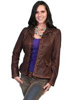A Scully Ladies' Leather Jacket: Western Casual Blazer with Stitching Brown S-M