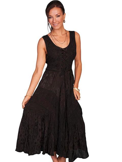 Scully Ladies' Honey Creek Collection Dress: Sleeveless Lace Up Front Black