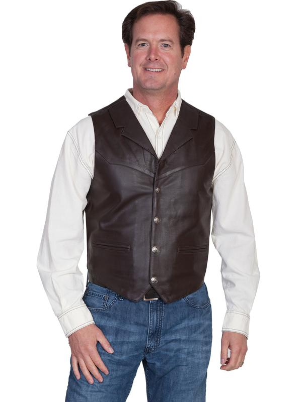 Scully Men's Leather Vest: Lamb Lapel w Snaps Brown Big