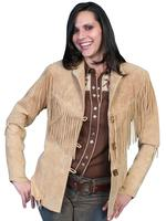 A Scully Ladies' Leather Suede Jacket: Western Flirty Fringe Old Rust