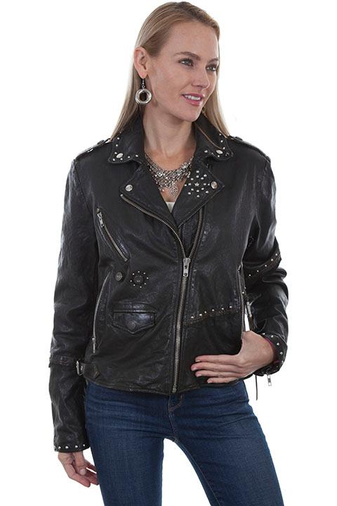 A Scully Ladies' Leather Jacket: Motorcycle with Studs