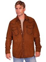 Scully Men's Leather Suede Shirt: Casual Western Pearl Snap Front