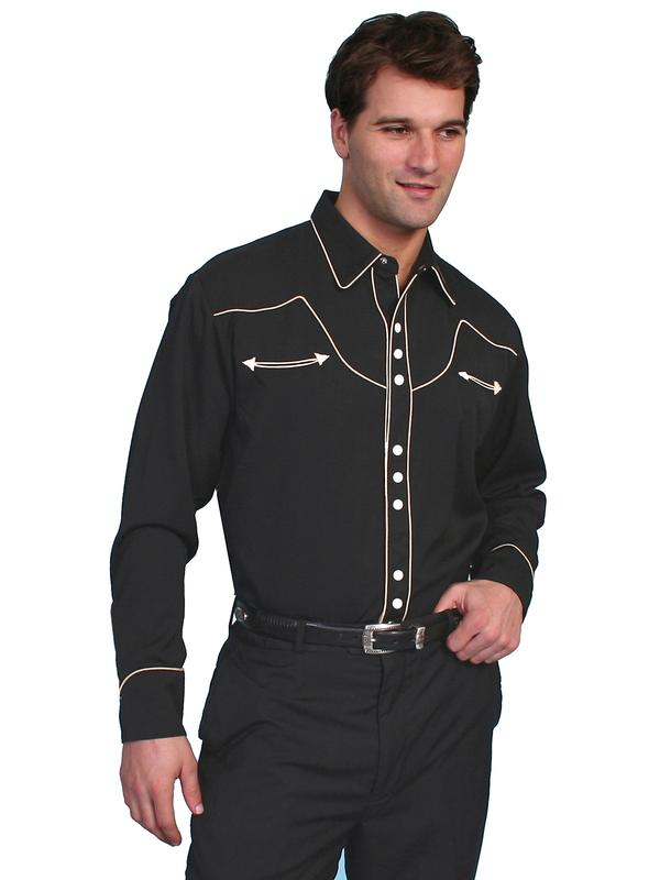 Scully Men's Vintage Western Shirt: Solid Black with Classic Trim Cream