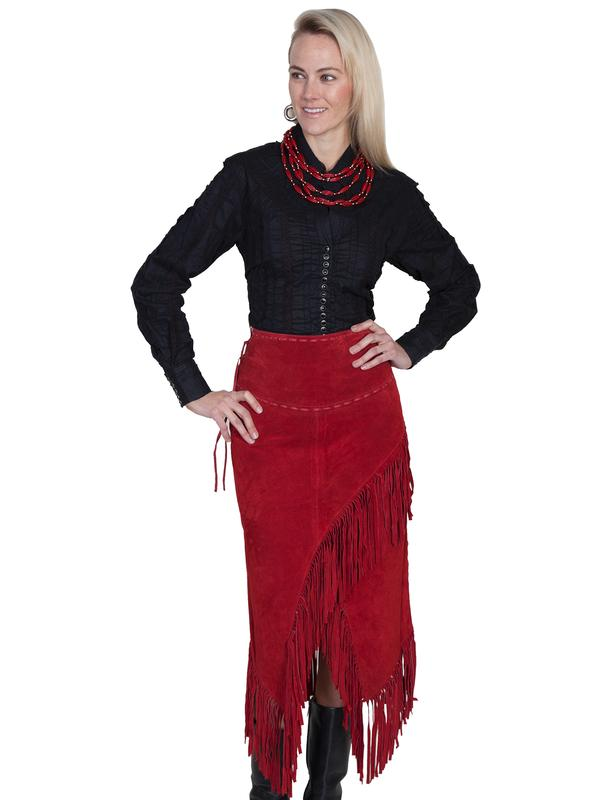 A A Scully Ladies' Leather Suede Skirt: Western Fringe Wrap Red