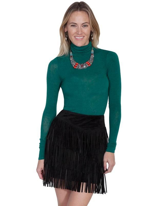 A A Scully Ladies' Leather Suede Skirt: Western Fringe 3 Tiers Short  Black