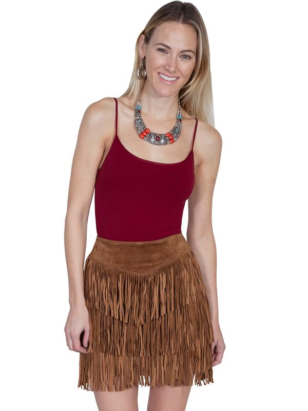 A A Scully Ladies' Leather Suede Skirt: Western Fringe 3 Tiers Short Cinnamon