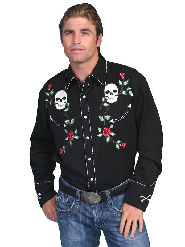 Scully Men S Vintage Western Shirt Skulls And Roses