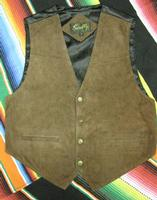Scully Men's Leather Vest: Suede Snaps Satin Back Expresso