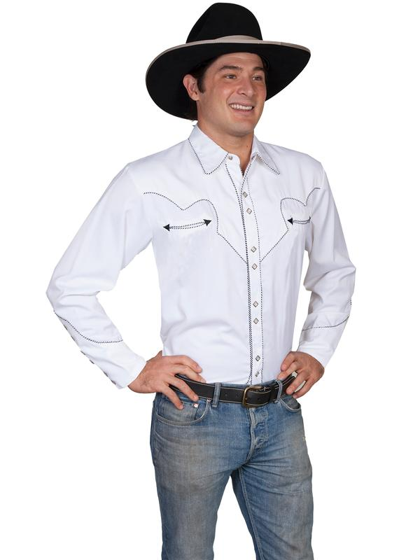 Scully Men's Vintage Western Shirt: Classic White and Black