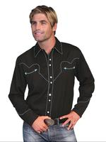 Scully Men's Vintage Western Shirt: Classic Black and Turquoise