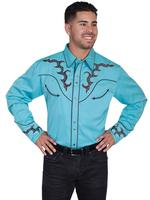 ZSold Scully Men's Vintage Western Shirt: A Boot Stitch Stars Turquoise SOLD