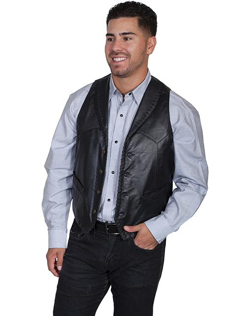 Scully Men's Leather Vest: Leather Whip Stitch Black