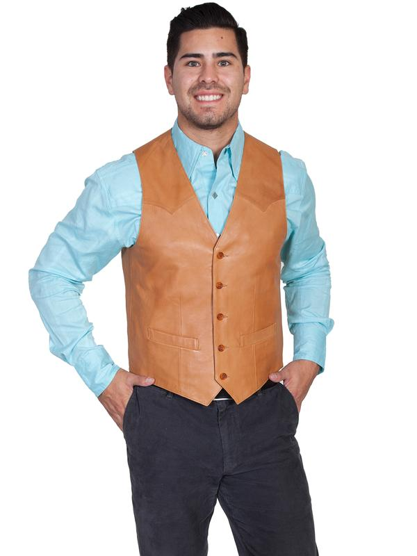 Scully Men's Leather Vest: Lambskin Button Front Hand Rubbed Ranch Tan Big