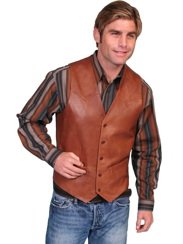 Scully Men's Leather Vest: Lambskin Button Front Hand Rubbed Antique Brown Big