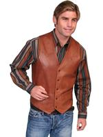 Scully Men's Leather Vest: Lambskin Button Front Hand Rubbed Antique Brown