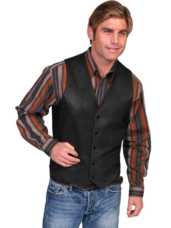 Scully Men's Leather Vest: Lambskin Button Front Hand Rubbed Black Big