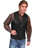 Scully Men's Leather Vest: Lambskin Button Front Hand Rubbed Black