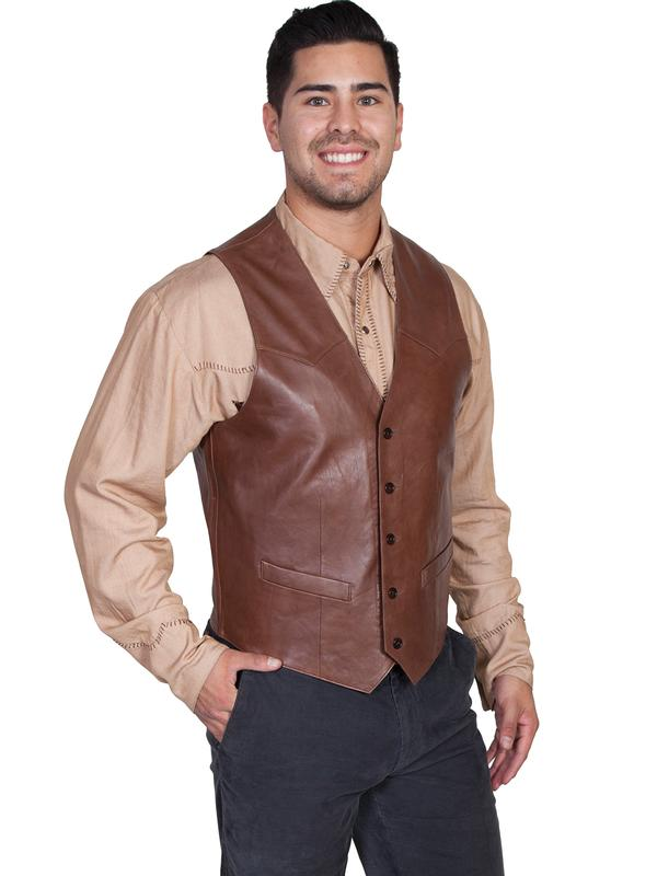 Scully Men's Leather Vest: Lambskin Button Front Chocolate