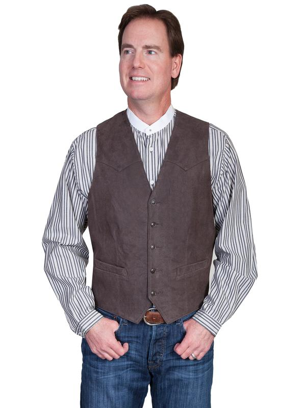 Scully Men's Leather Vest: Lambskin Button Front Brown