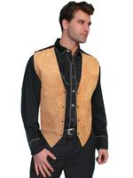 Scully Men's Leather Vest: Suede Snaps Satin Back Bourbon XL