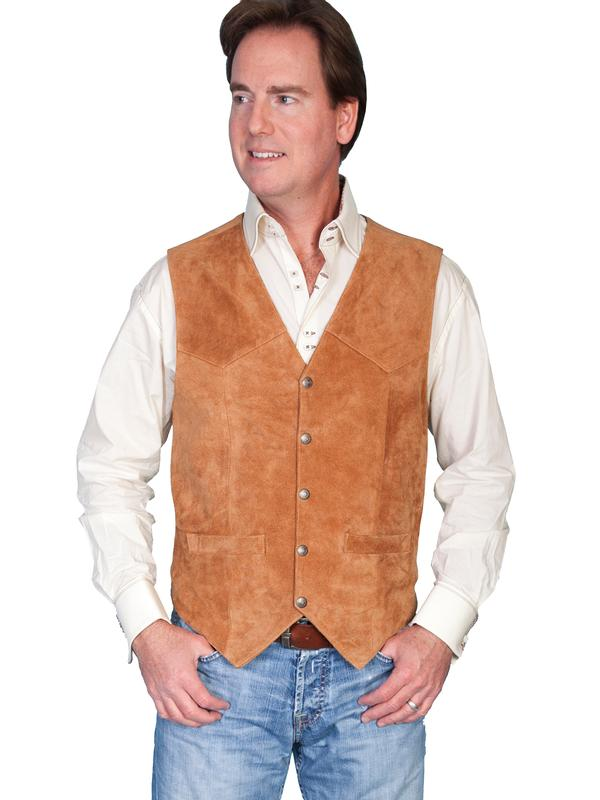 Scully Men's Leather Vest: Suede w Snaps Rust