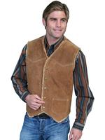 Scully Men's Leather Vest: Suede w Faux Fur Cafe Brown Big