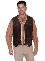 Scully Men's Leather Vest: Suede w Faux Fur Chocolate