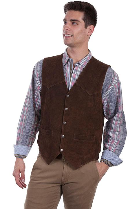 Scully Men's Leather Vest: Suede w Snaps Brown