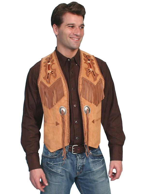 Scully Men's Leather Vest: Casual Suede Fringe Bead Trim Golden Tan