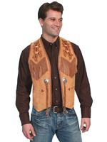 Scully Men's Leather Vest: Suede Fringe Bead Trim Golden Tan 36-48