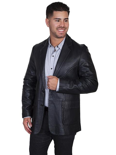 Scully Men's Leather Blazer: Whip Stitch Sportcoat Jacket Black Big and Long