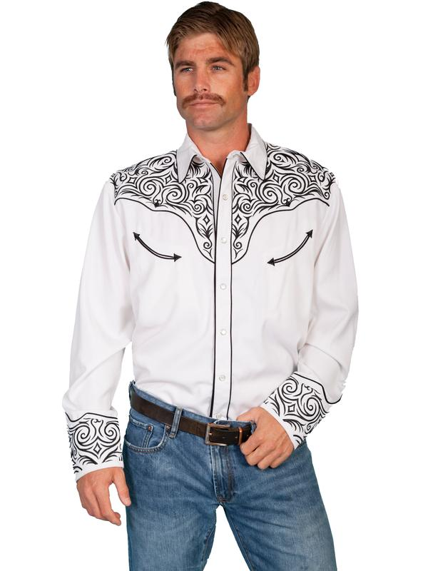 Scully Men's Vintage Western Shirt: Fancy Embroidery Scroll Black on White