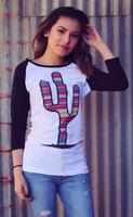 Original Cowgirl Clothing: Tee Baseball Cactus Serape Black S-2XL