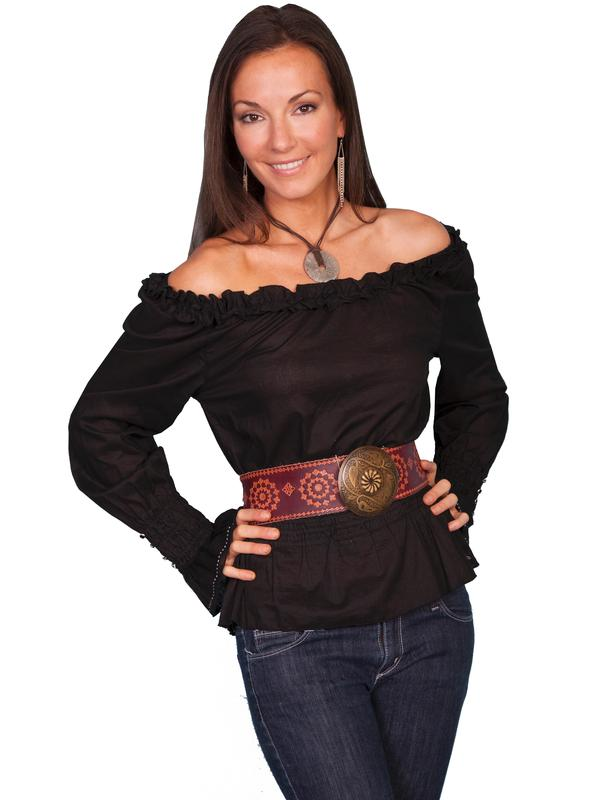 Scully Ladies' Honey Creek Collection Blouse: The Steampunk Peasant Ruffle Black S-XL