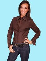 ZSold Scully Ladies' Honey Creek Collection Blouse: Stretch Pin Tuck Blouse Chocolate S-M SOLD