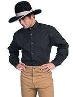 Scully Men's Old West Shirt: Wahmaker Cotton Bib Tone on Tone Black
