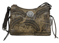 A American West Handbag Sacred Bird Collection: Leather Zip Top Shoulder Distressed Charcoal