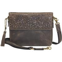 Concealed Carry Crossbody Shoulder Clutch Distressed Brown