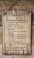Wall Sign Faith: Cowboy Ten Commandments