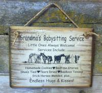 Wall Sign Home: Kids Grandma's Babysitting Service