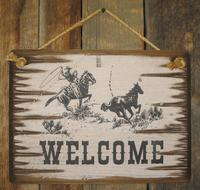 Wall Sign Business: Welcome Roping Cowboy