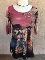Ladies' Fantazia Apparel Top: Tunic Silver Cowgirl SALE