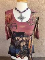 Ladies' Fantazia Apparel Top: 3/4 Sleeve Silver Cowgirl SALE
